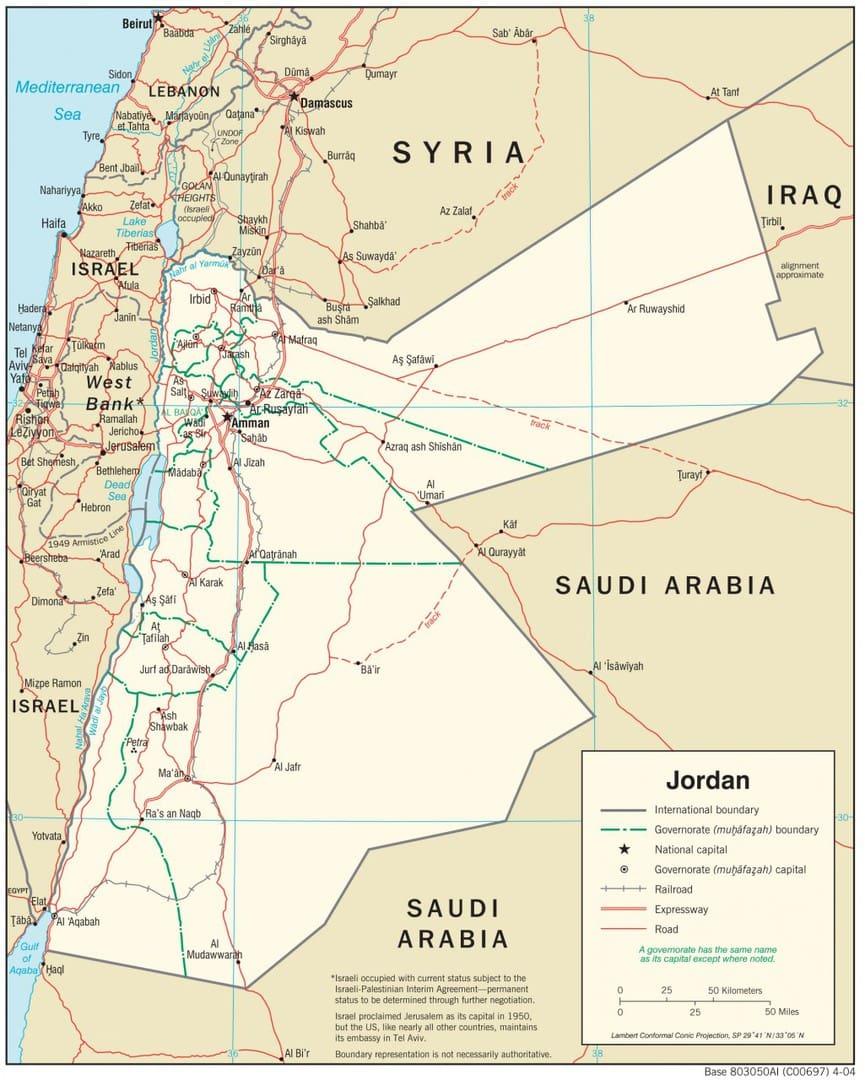 Mapa transportowa Jordanii