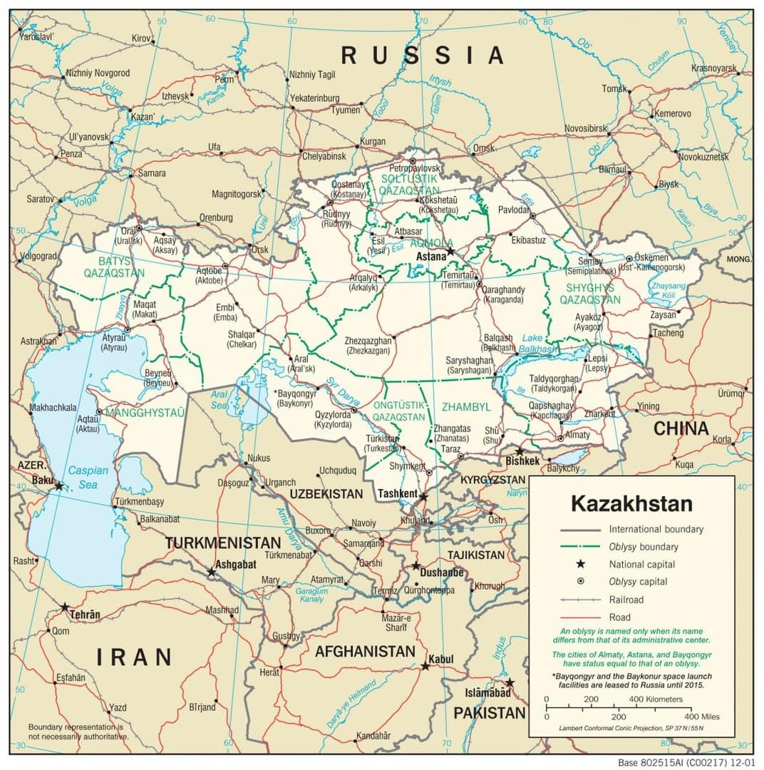 Mapa transportowa Kazachstanu
