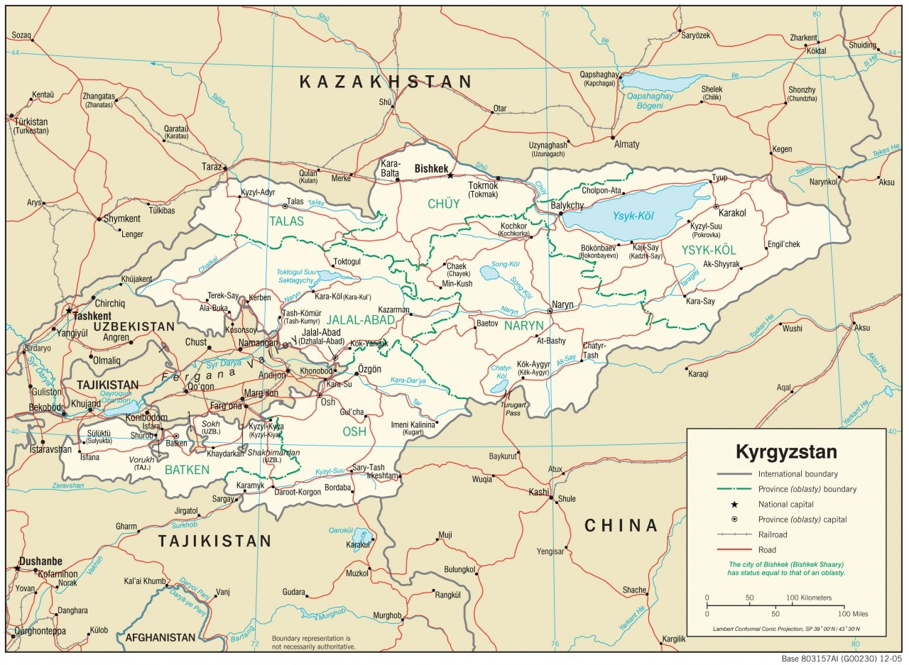 Mapa transportowa Kirgistanu
