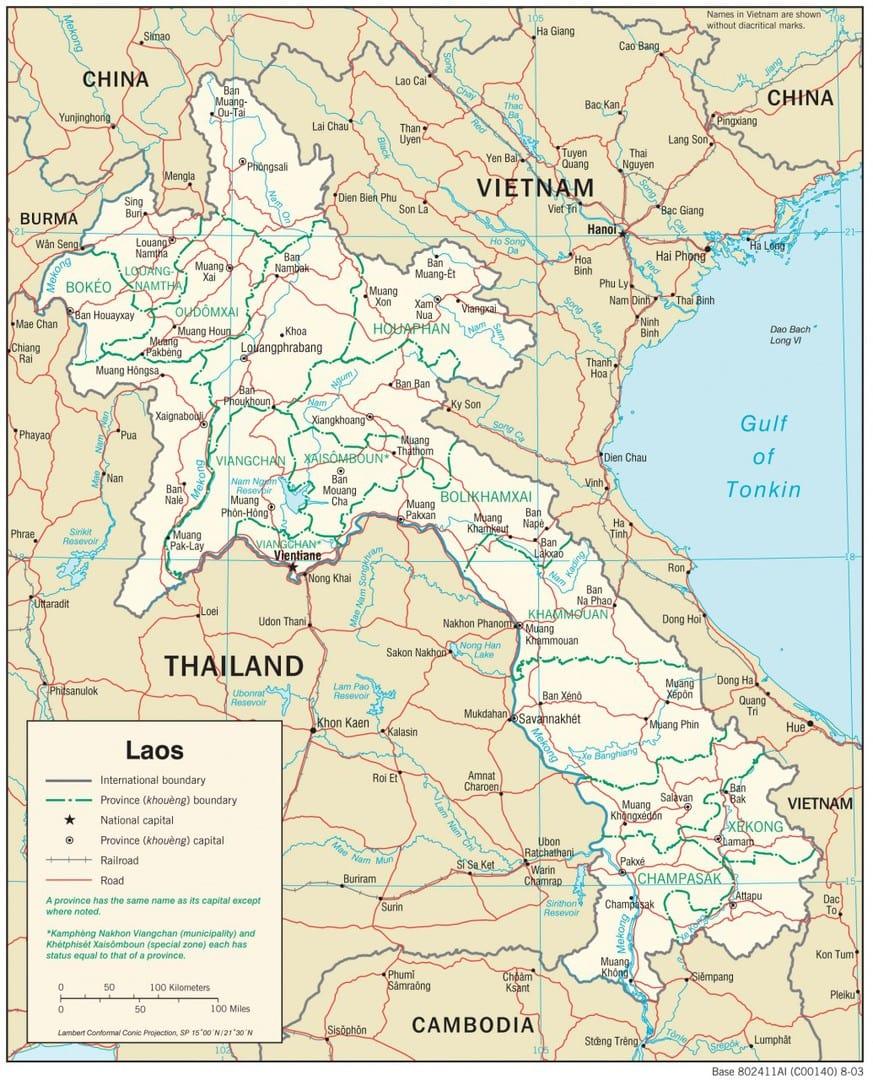 Mapa transportowa Laosu