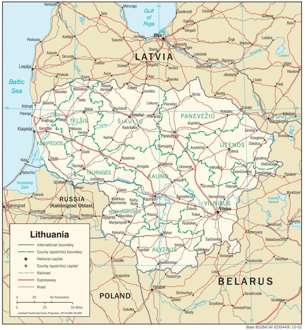 Mapa transportowa Litwy