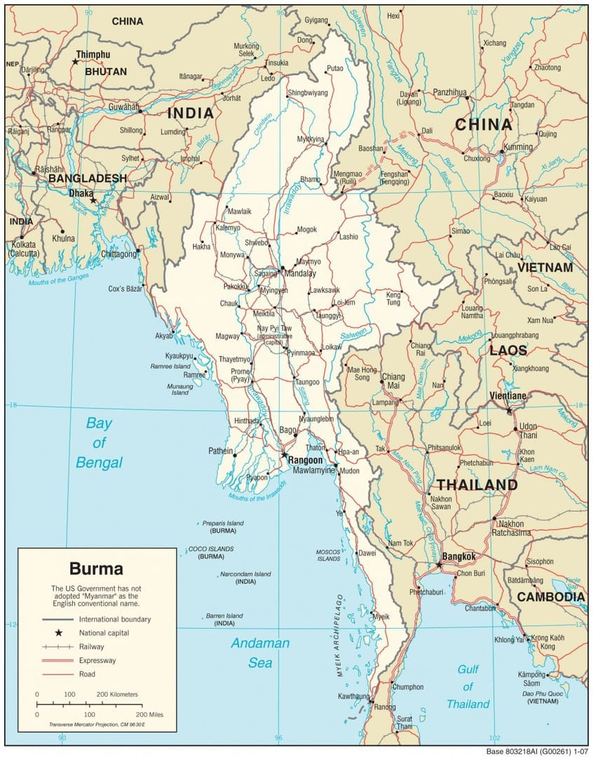 Mapa transportowa Mjanmy