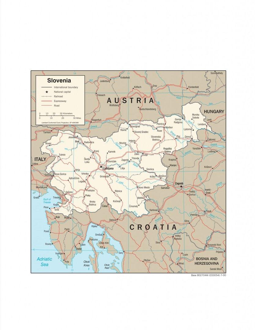 Mapa transportowa Słowenii