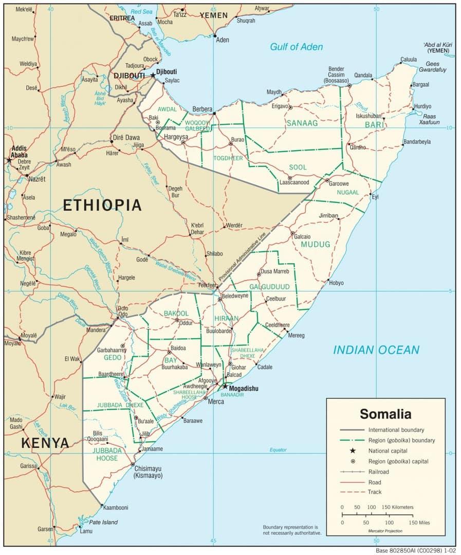Mapa transportowa Somalii