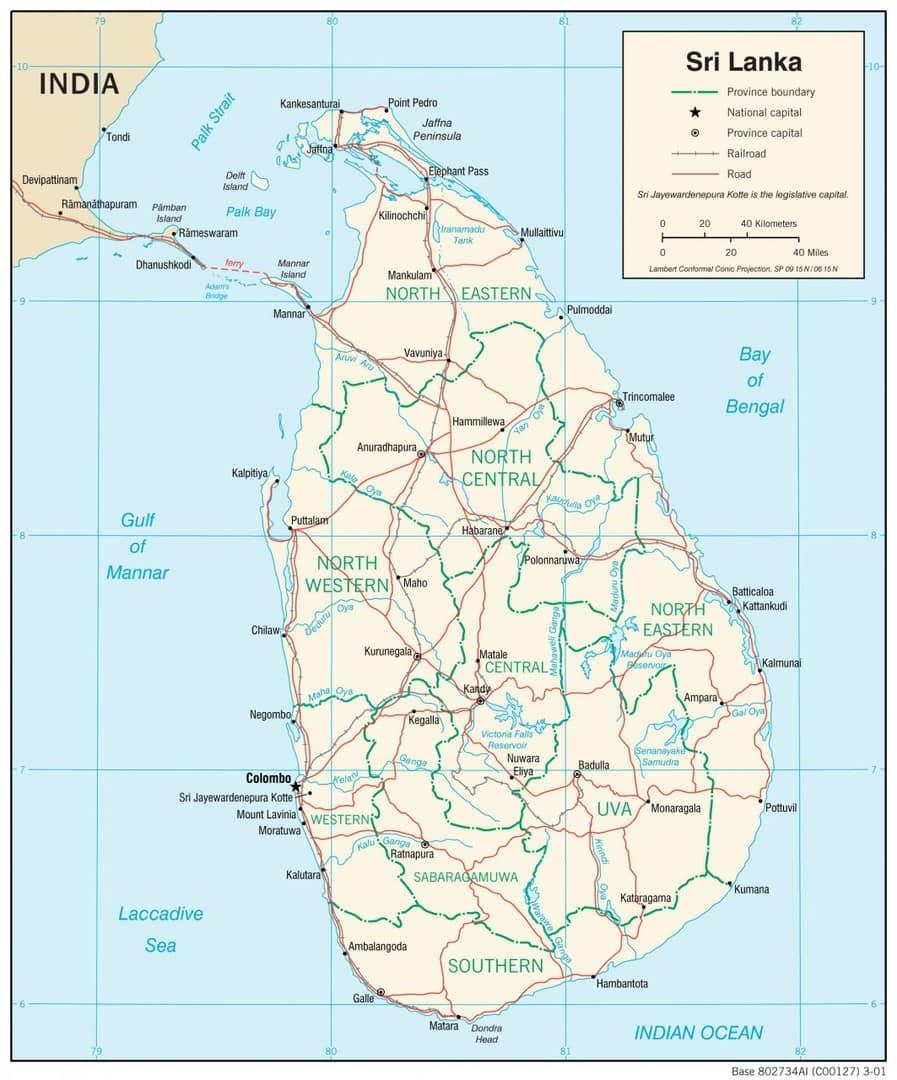 Mapa transportowa Sri Lanki