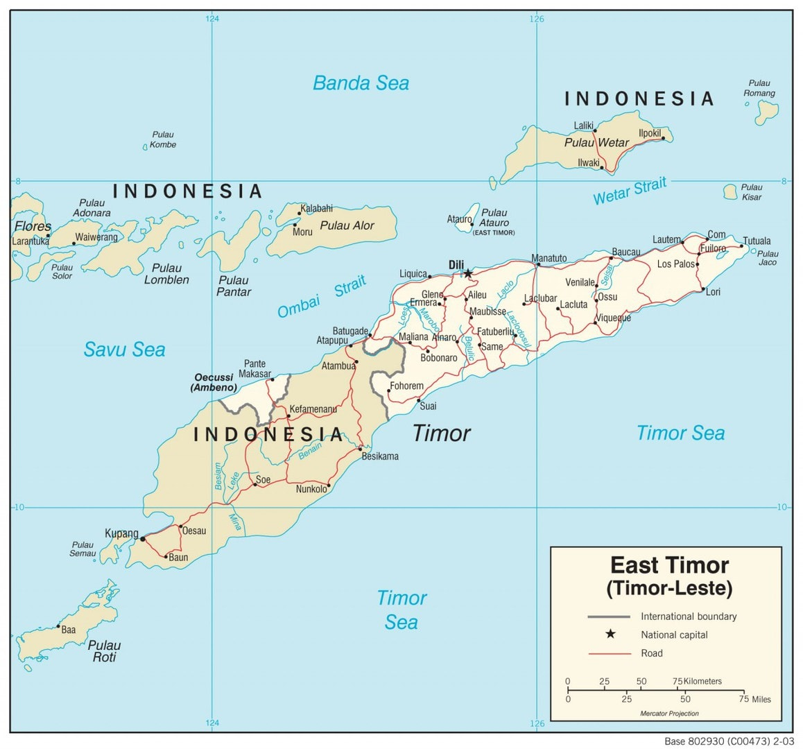 Mapa transportowa Timoru Wschodniego