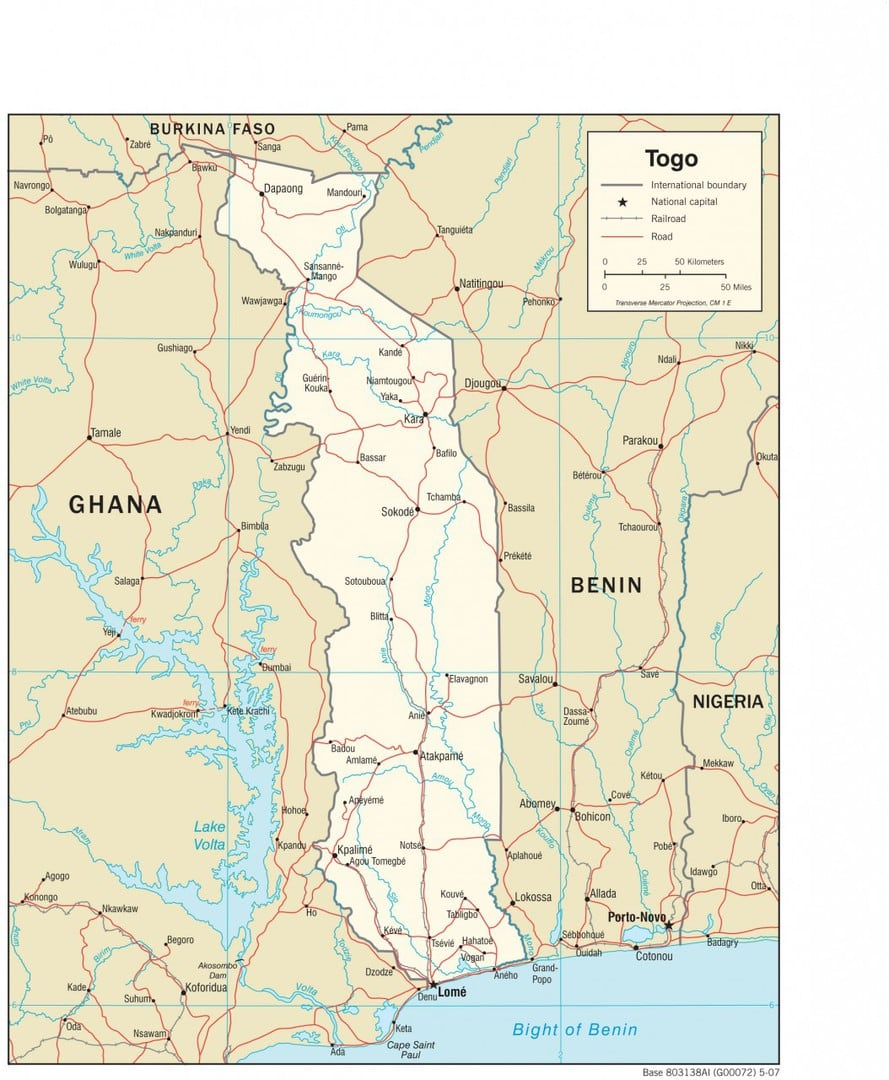 Mapa topograficzna Togo