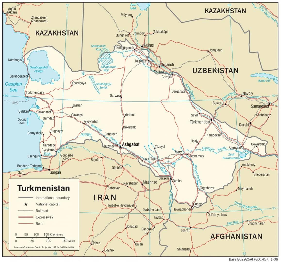 Mapa transportowa Turkmenistanu