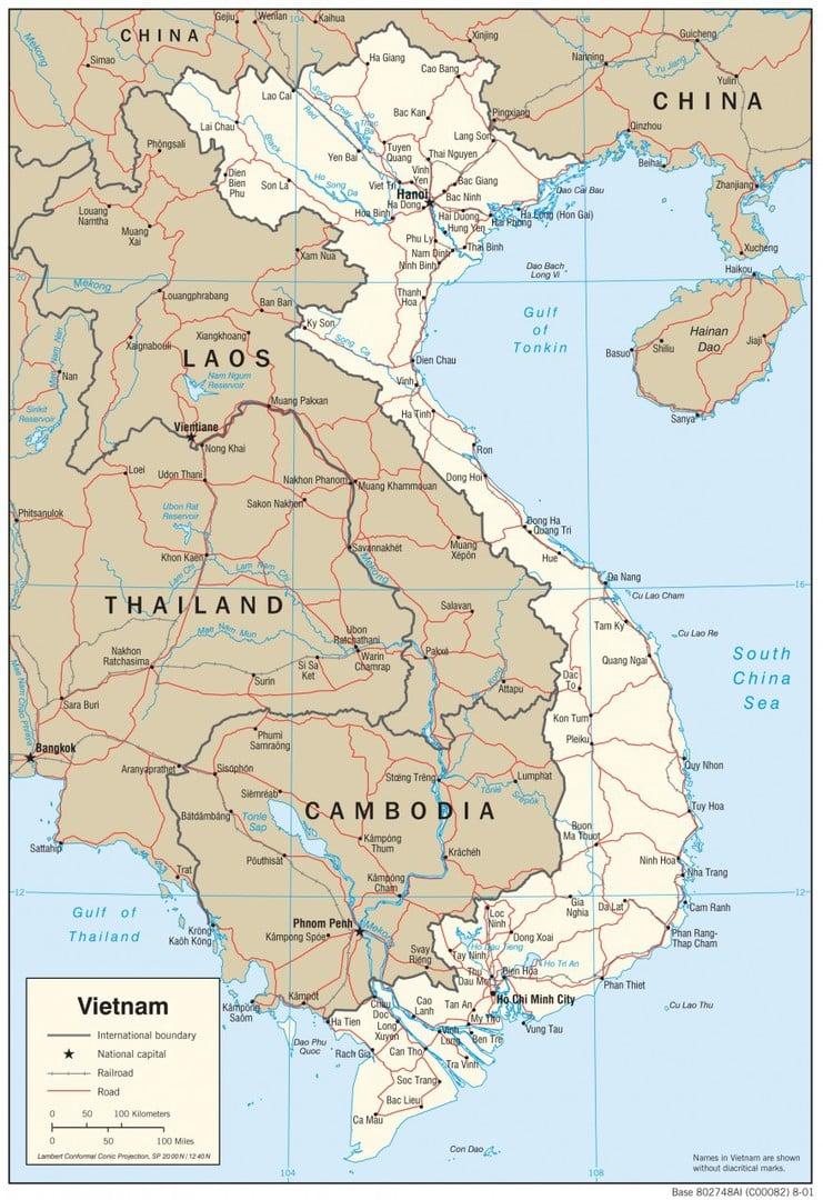 Mapa transportowa Wietnamu