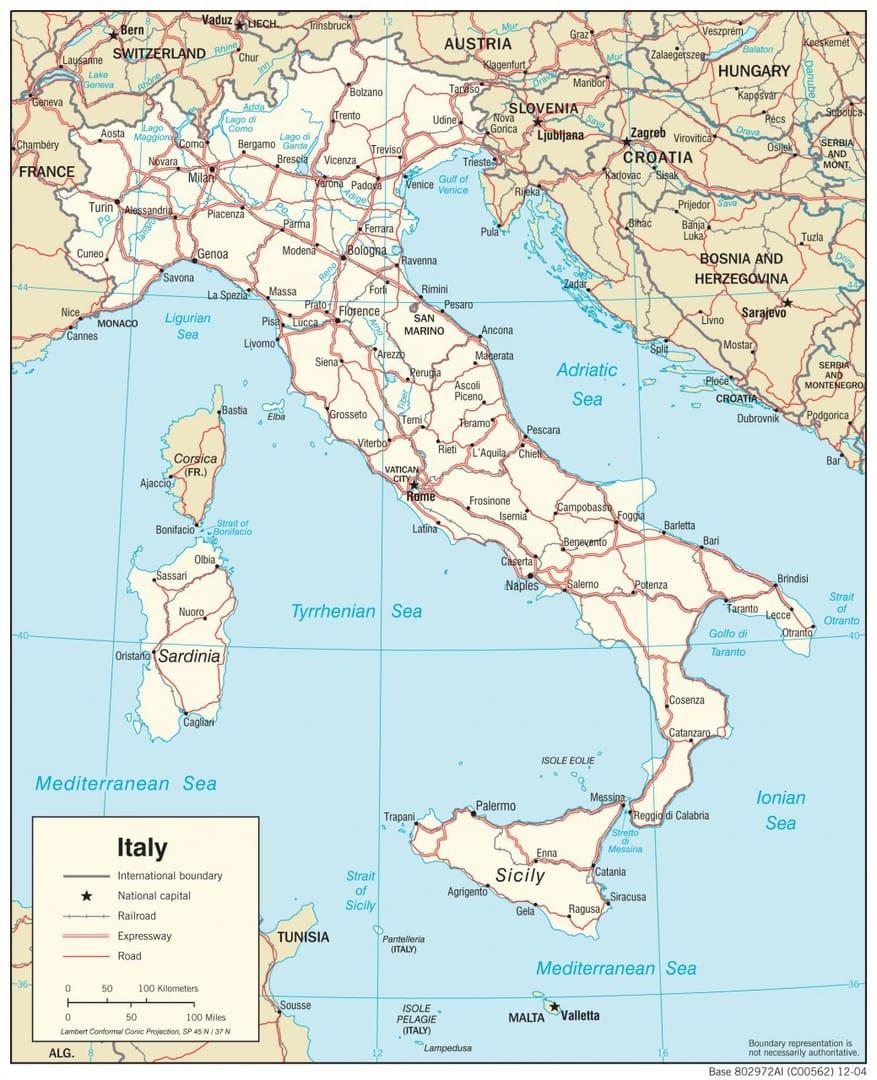 Wlochy Mapa Mapy Wloch Travelin