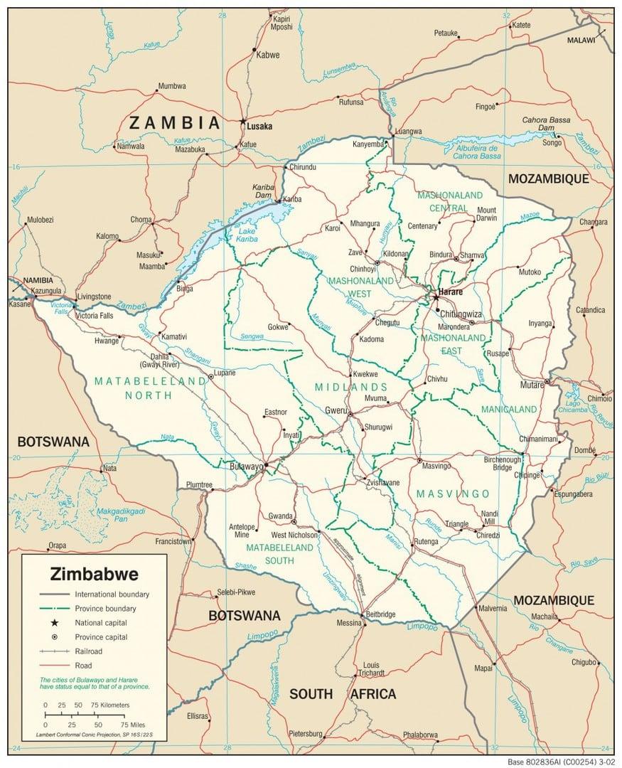 Mapa transportowa Zimbabwe