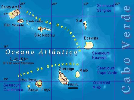 Mapa wysp Republiki Zielonego Przylądka