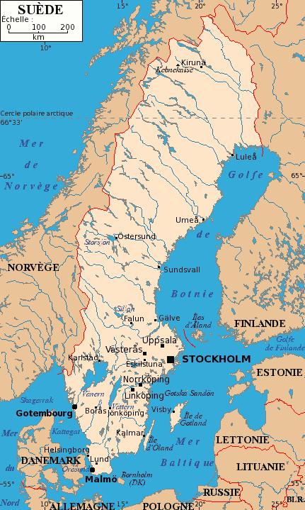 Mapa z głównymi miastami Szwecji