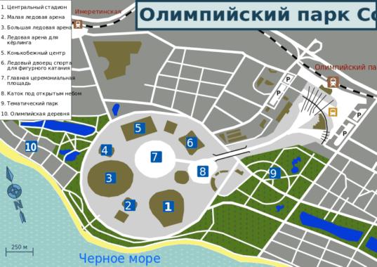 Plan Parku Olimpijskiego w Soczi