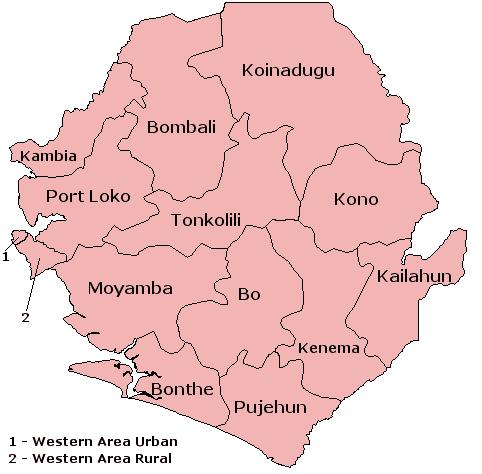Mapa podziału Sierra Leone na dystrykty