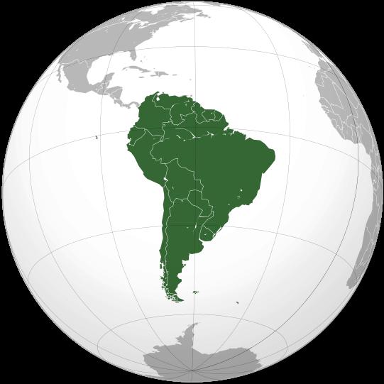 Położenie Ameryki Południowej na mapie świata