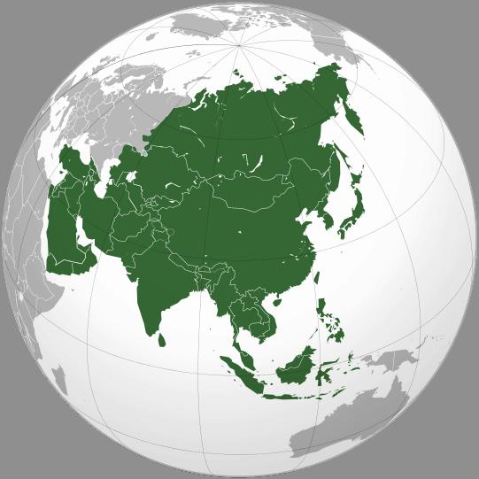 Położenie Azji na mapie świata