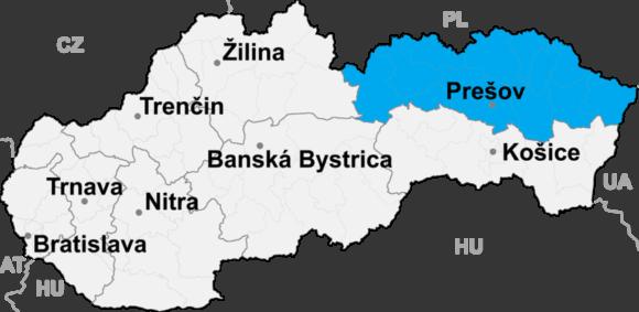 Położenie kraju preszowskiego na mapie Słowacji