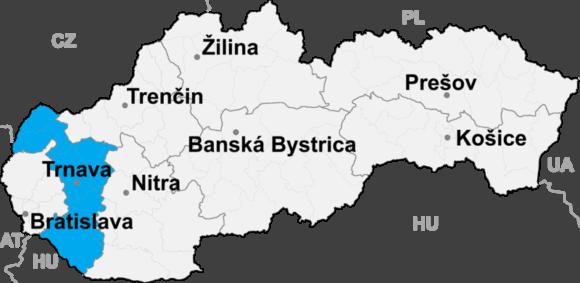 Położenie kraju trnawskiego na mapie Słowacji