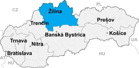 Położenie kraju żylińskiego na mapie Słowacji