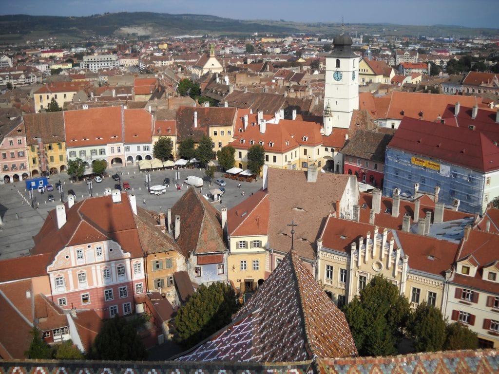 Sybin - widok z wieży katedry ewangelickiej
